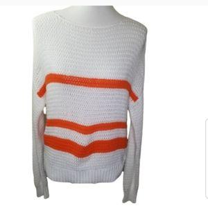 360 SWEATER Orange & White Open Knit Sweater
